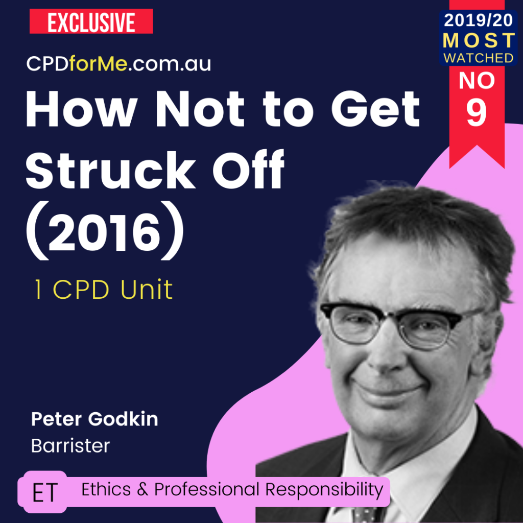 How Not to Get Struck Off (2016) Online CPD