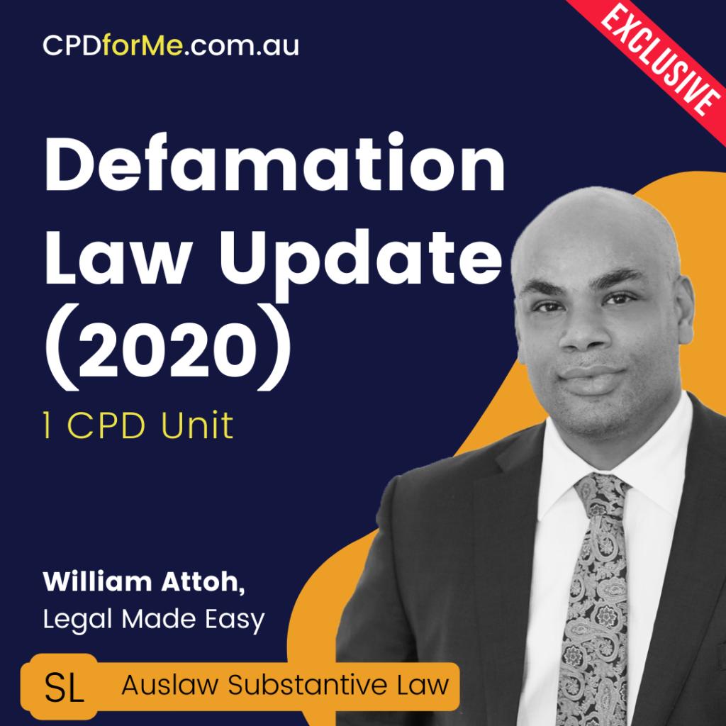 Defamation Law Update Online CPD