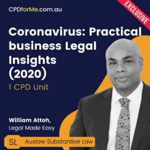 Coronavirus Practical Business Legal Insights in 2020 – 1 CPD Unit | CPDforMe.com.au