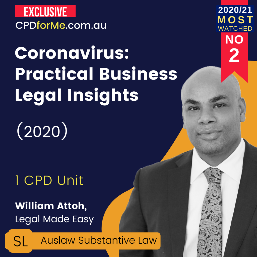 Coronavirus - Practical Business Legal Insights (2020) 1 CPD Unit