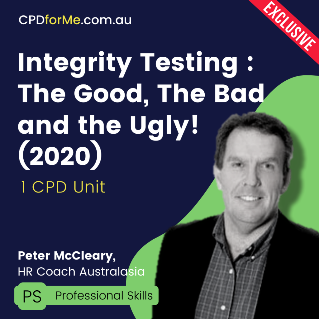 Integrity Testing: The Good, The Bad and The Ugly (2020) Online CPD