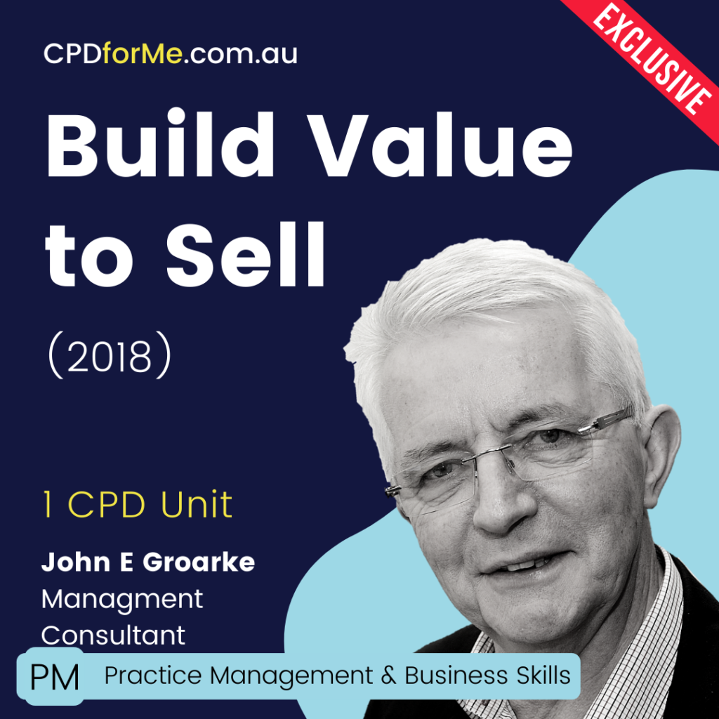 Build Value to Sell (2018) Online CPD