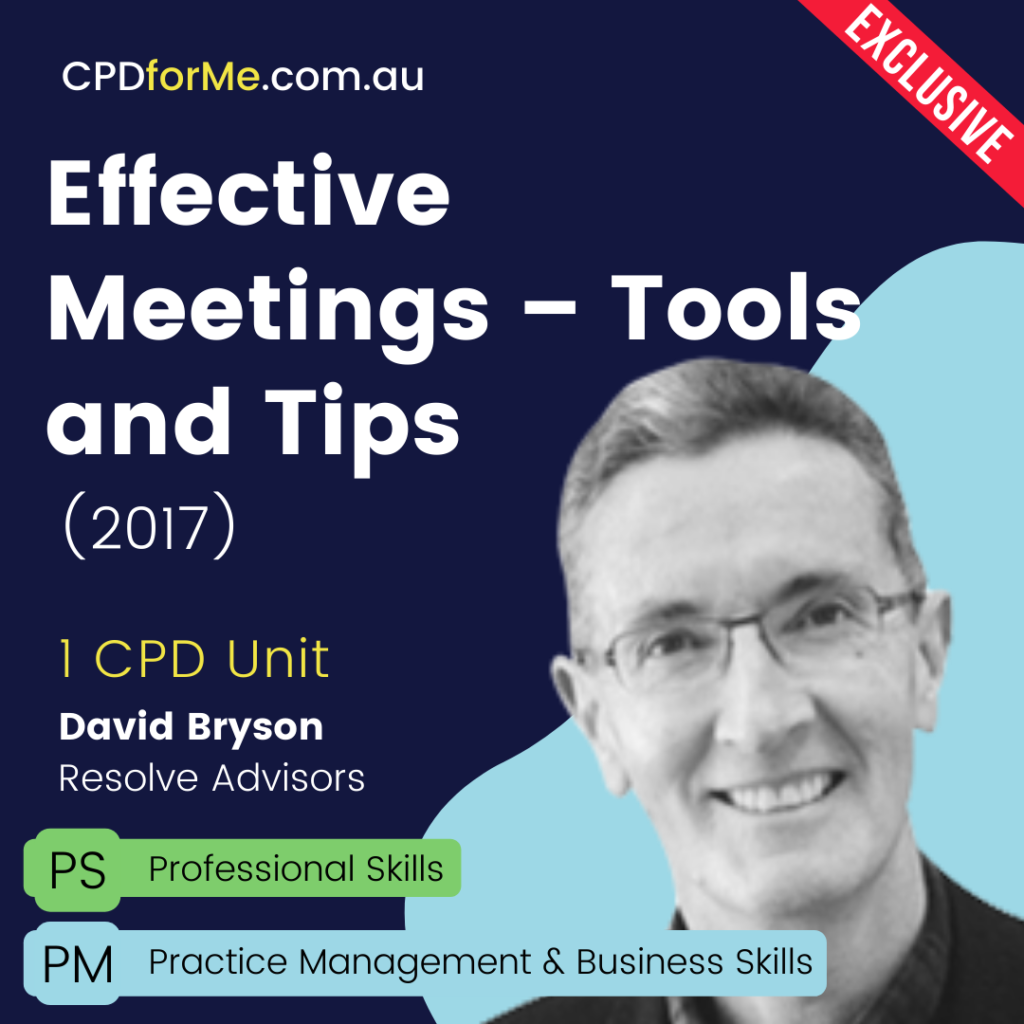 Effective Meetings - Tools and Tips (2017) Online CPD