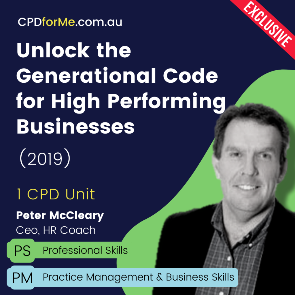 Unlock the Generational Code for High Performing Businesses (2019) Online CPD